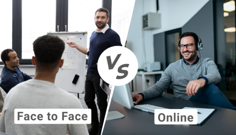 People communicating face-to-Face versus online