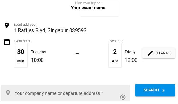 Event widget for conference in Singapore